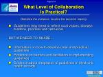 what level of collaboration is practical