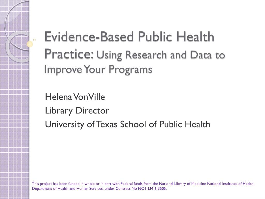 evidence based public health practice using research and data to improve your programs l.