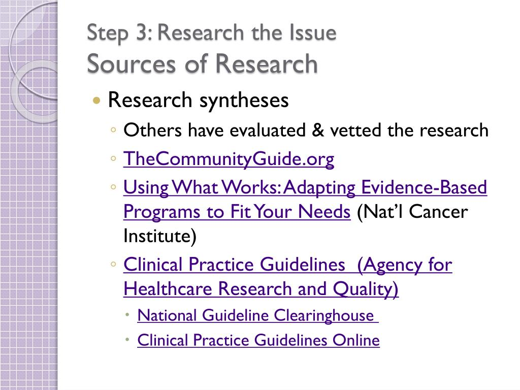 Step 3: Research the Issue
