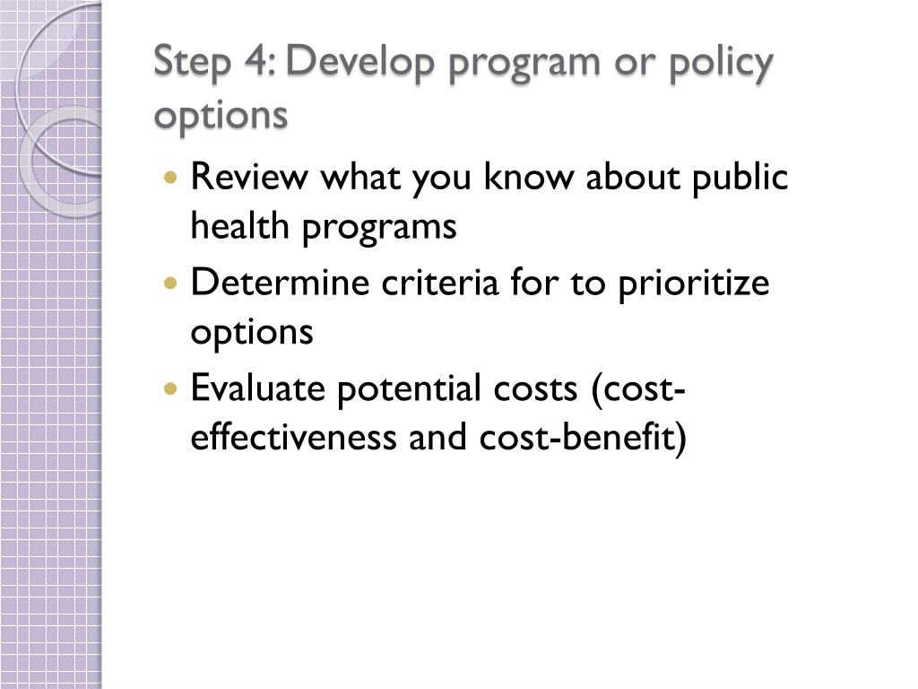 Step 4: Develop program or policy options