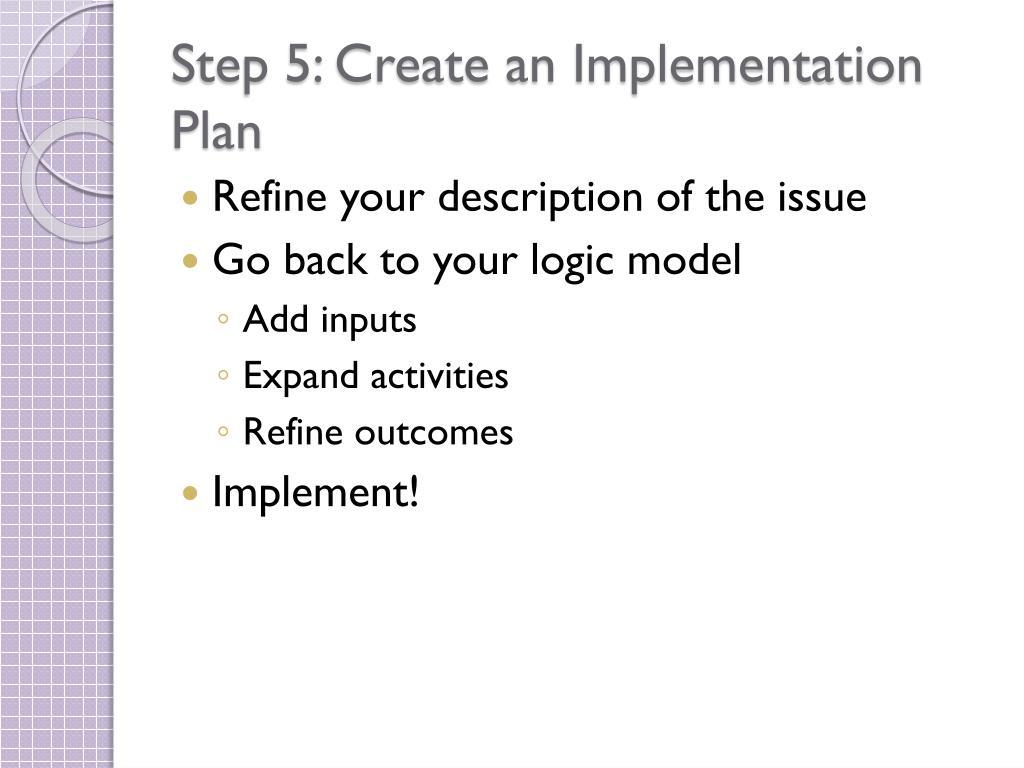 Step 5: Create an Implementation Plan