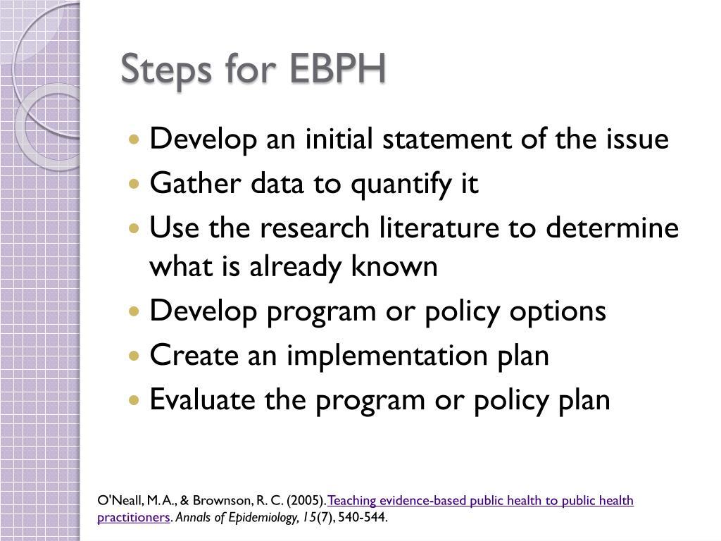 Steps for EBPH