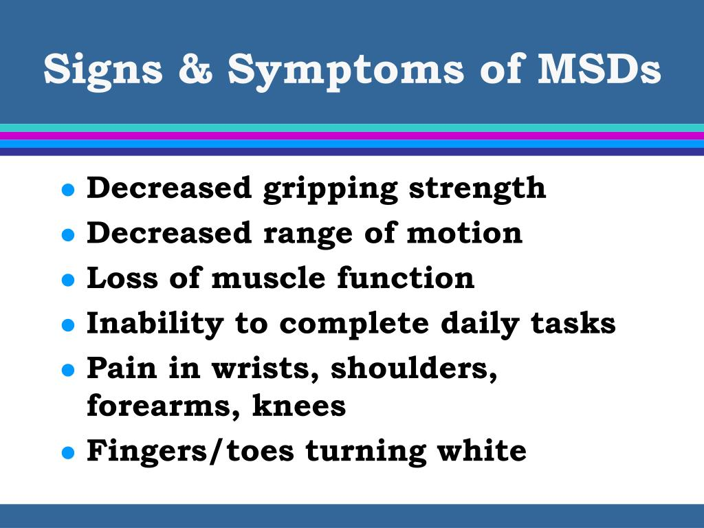 Signs & Symptoms of MSDs