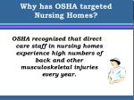 why has osha targeted nursing homes