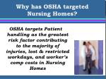 why has osha targeted nursing homes4