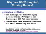 why has osha targeted nursing homes5