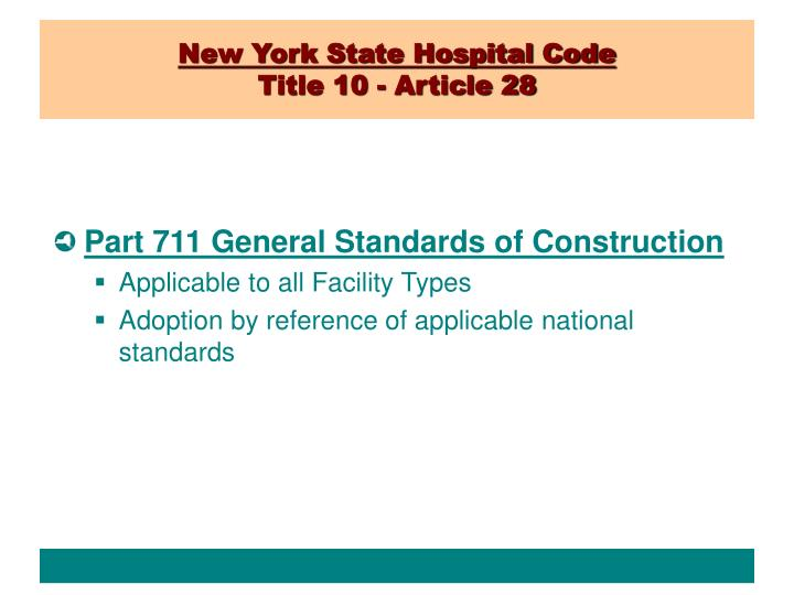 New york state hospital code title 10 article 28