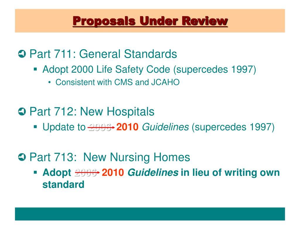 Proposals Under Review