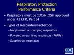 respiratory protection performance criteria105