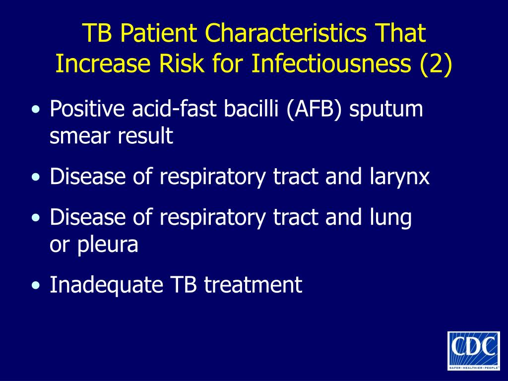 TB Patient Characteristics That Increase Risk for Infectiousness (2)