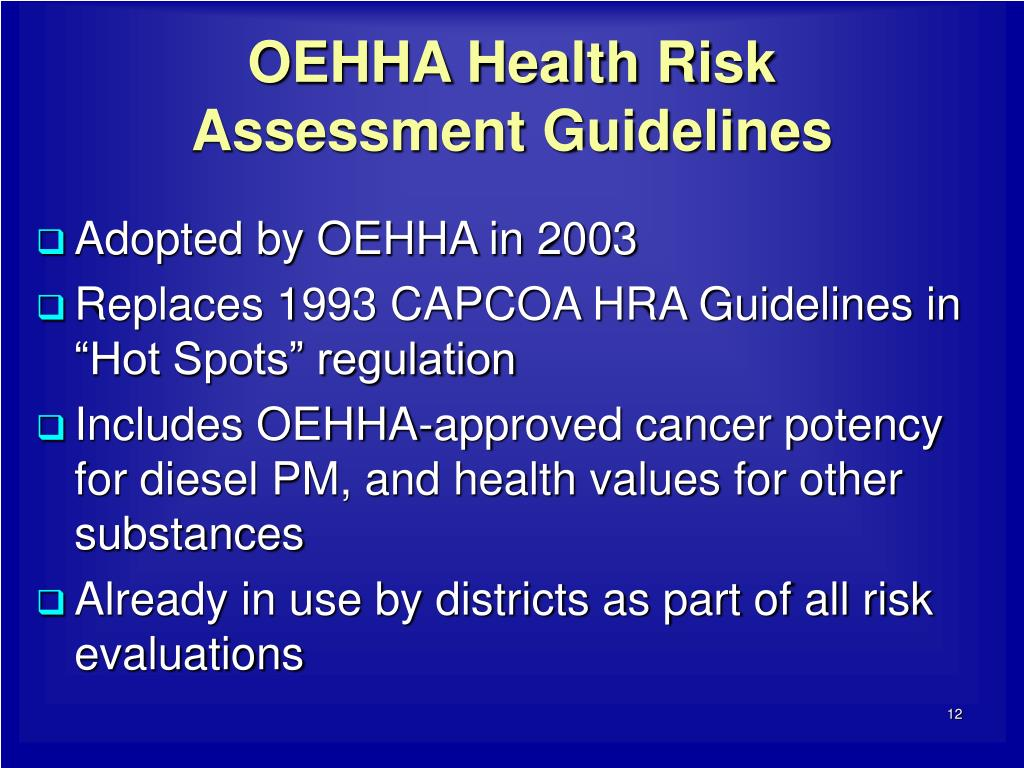 OEHHA Health Risk