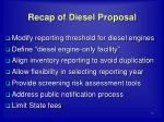 recap of diesel proposal
