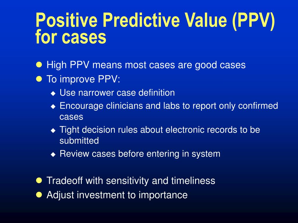 Positive Predictive Value (PPV) for cases