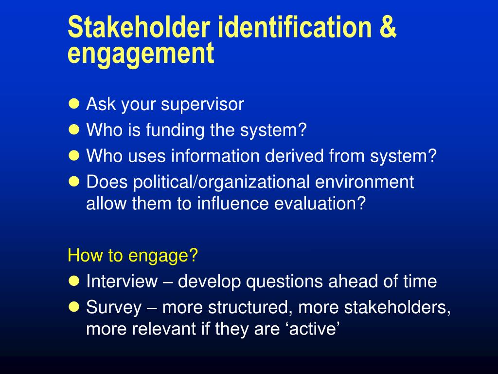 Stakeholder identification & engagement