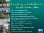 scientifically established benefits of physical activity pa