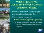 what is the guide to community preventive services community guide