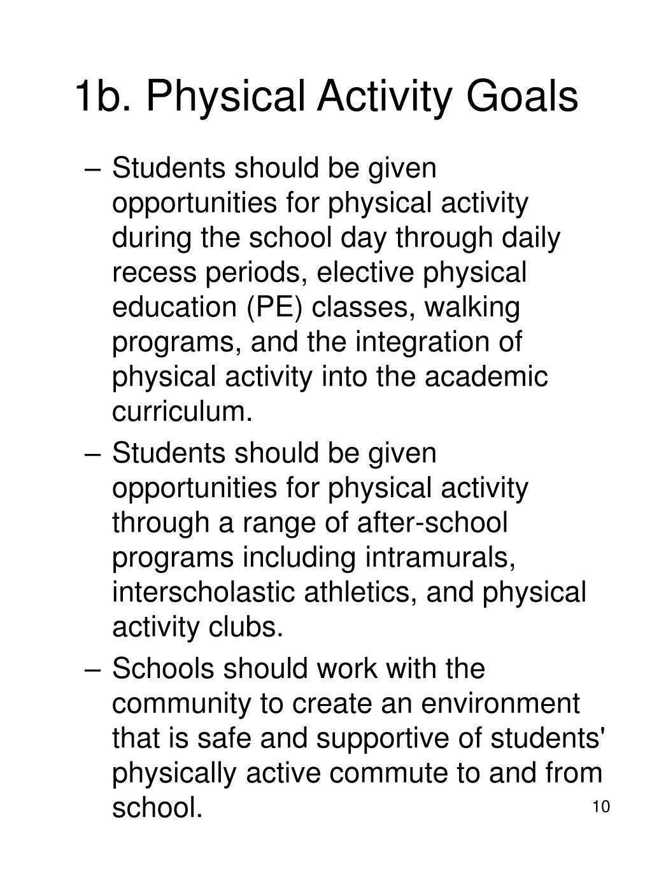 1b. Physical Activity Goals