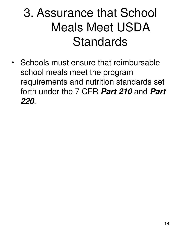 3. Assurance that School Meals Meet USDA Standards