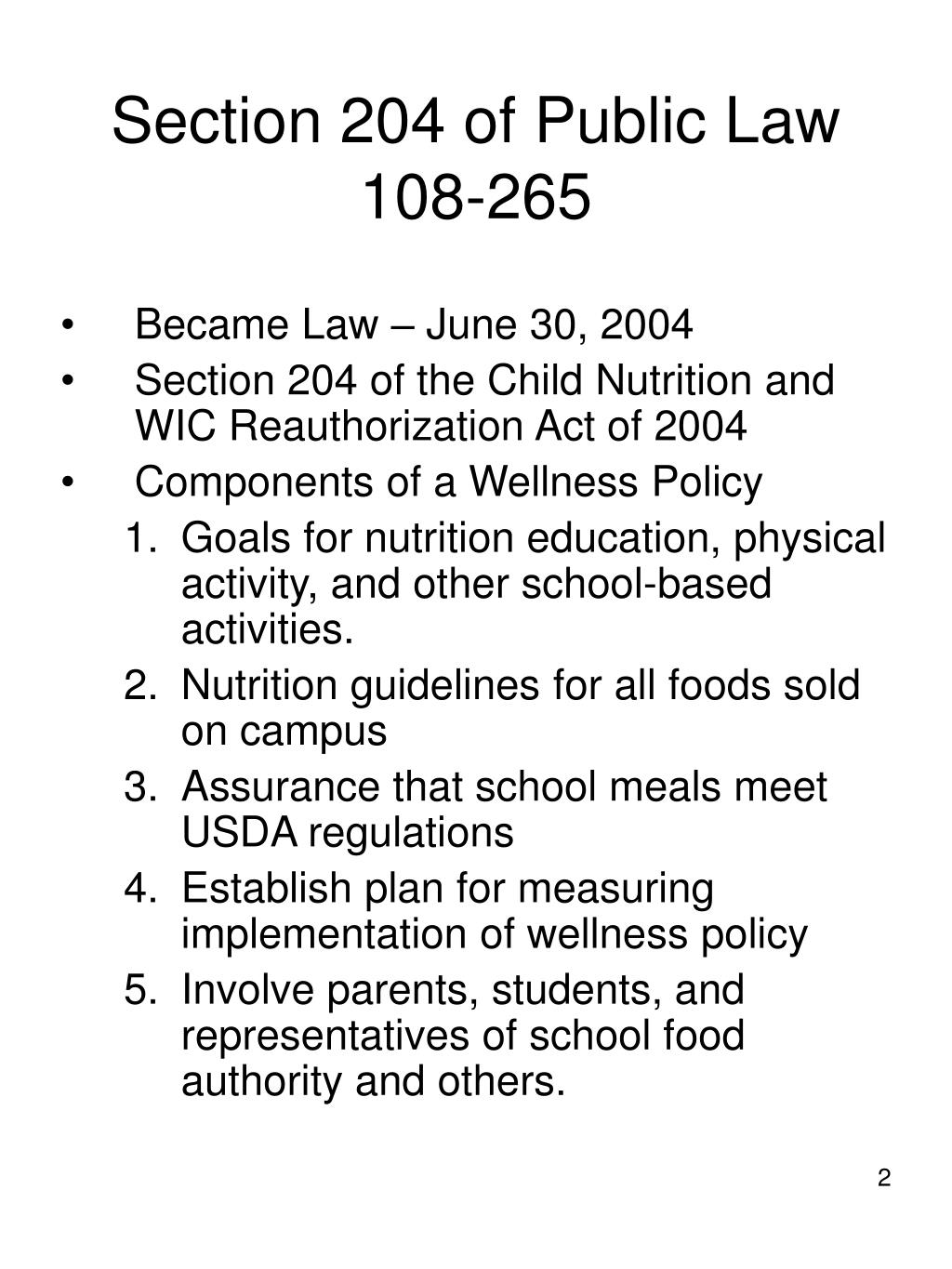 Section 204 of Public Law 108-265