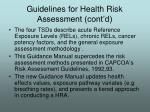 guidelines for health risk assessment cont d