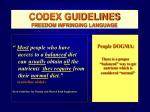 codex guidelines freedom infringing language