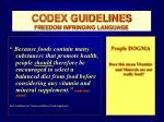 codex guidelines freedom infringing language46