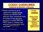 codex guidelines freedom infringing language47