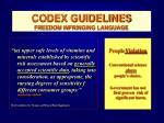 codex guidelines freedom infringing language49