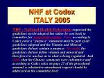 nhf at codex italy 2005