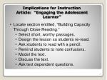 implications for instruction article engaging the adolescent learner