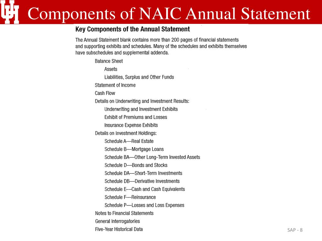Components of NAIC Annual Statement