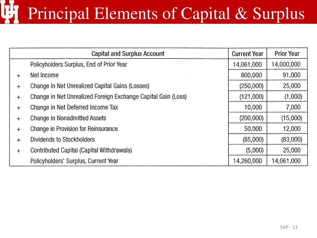 Principal Elements of Capital & Surplus