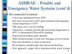 ashrae potable and emergency water systems cont d