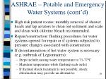 ashrae potable and emergency water systems cont d29