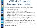ashrae potable and emergency water systems
