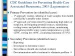 cdc guidelines for preventing health care associated pneumonia 2003 legionnaires