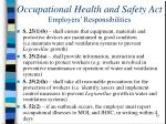 occupational health and safety act employers responsibilities