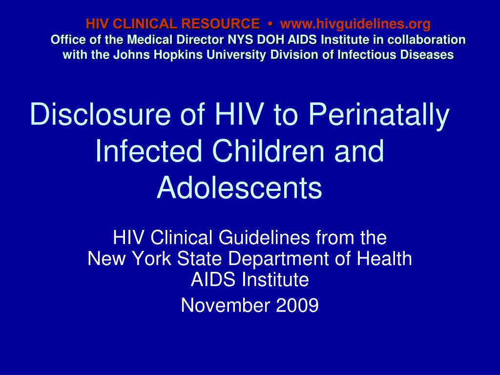 disclosure of hiv to perinatally infected children and adolescents l.