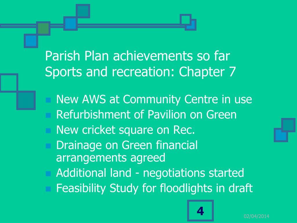 Parish Plan achievements so far