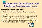 management commitment and employee involvement cont d