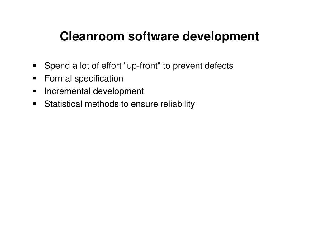 Cleanroom software development