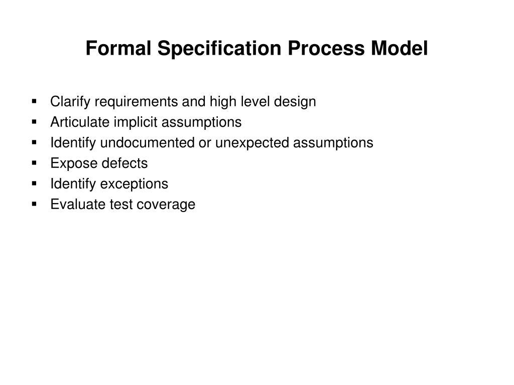 Formal Specification Process Model