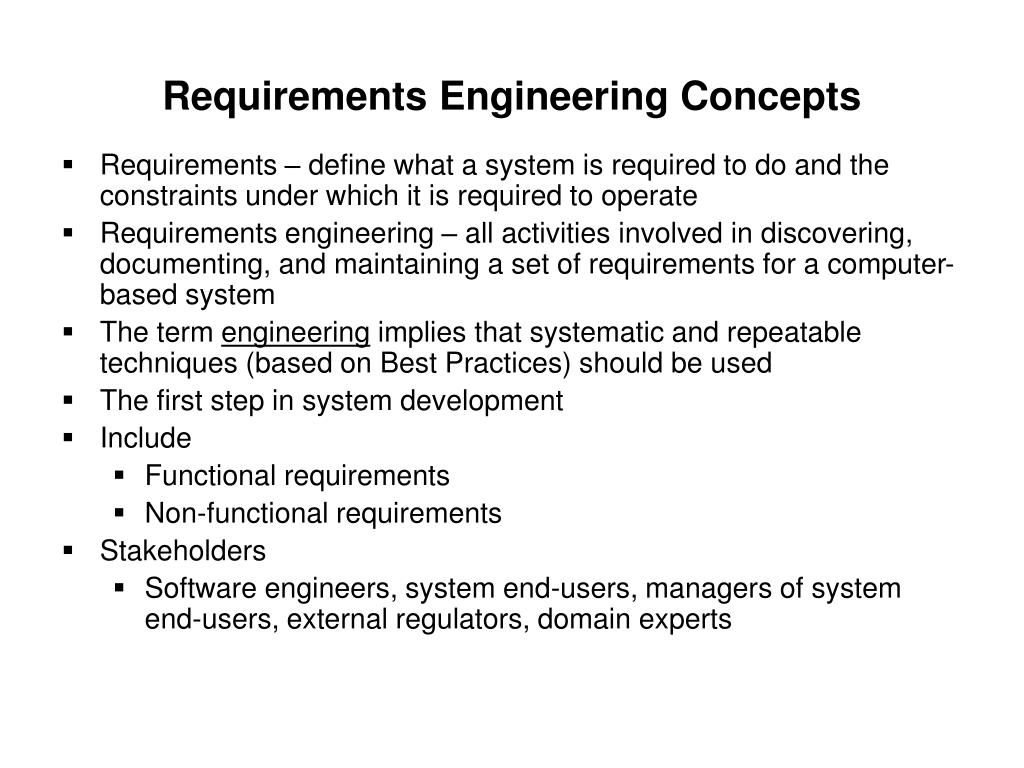 Requirements Engineering Concepts