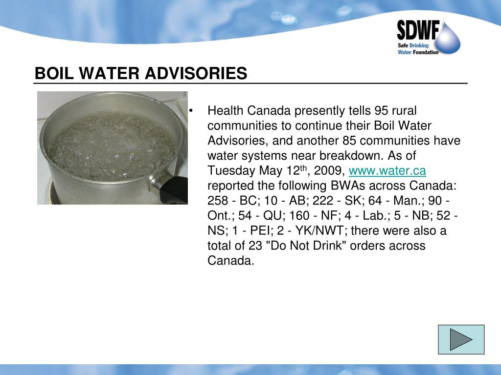 BOIL WATER ADVISORIES
