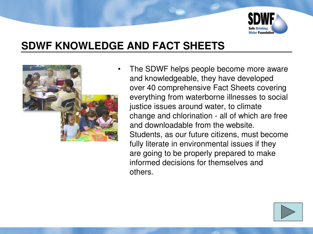SDWF KNOWLEDGE AND FACT SHEETS