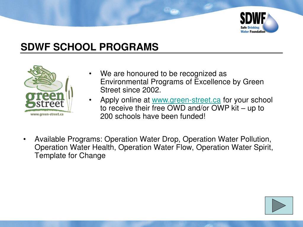 SDWF SCHOOL PROGRAMS