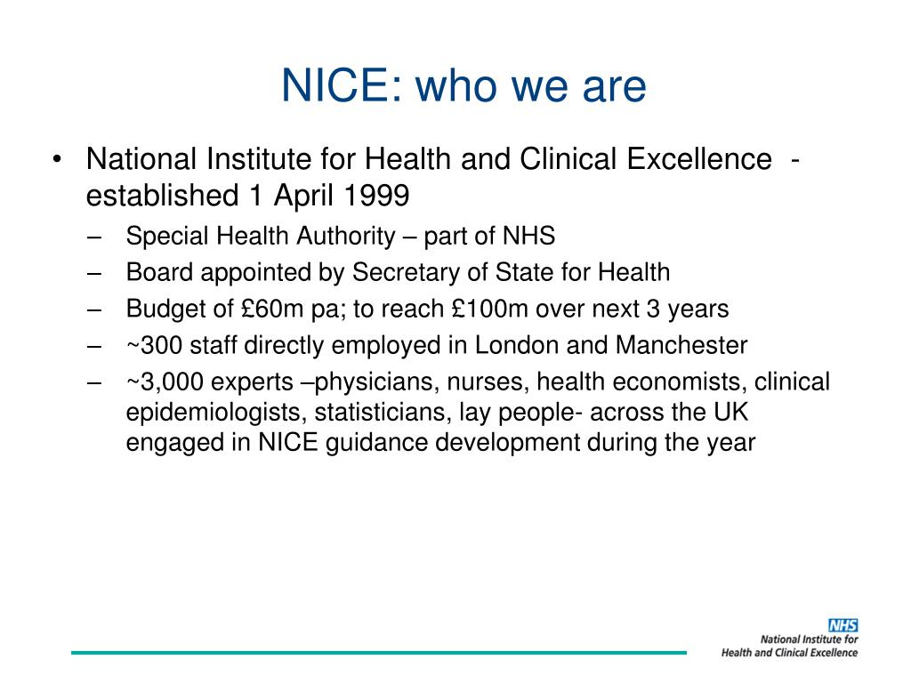 NICE: who we are
