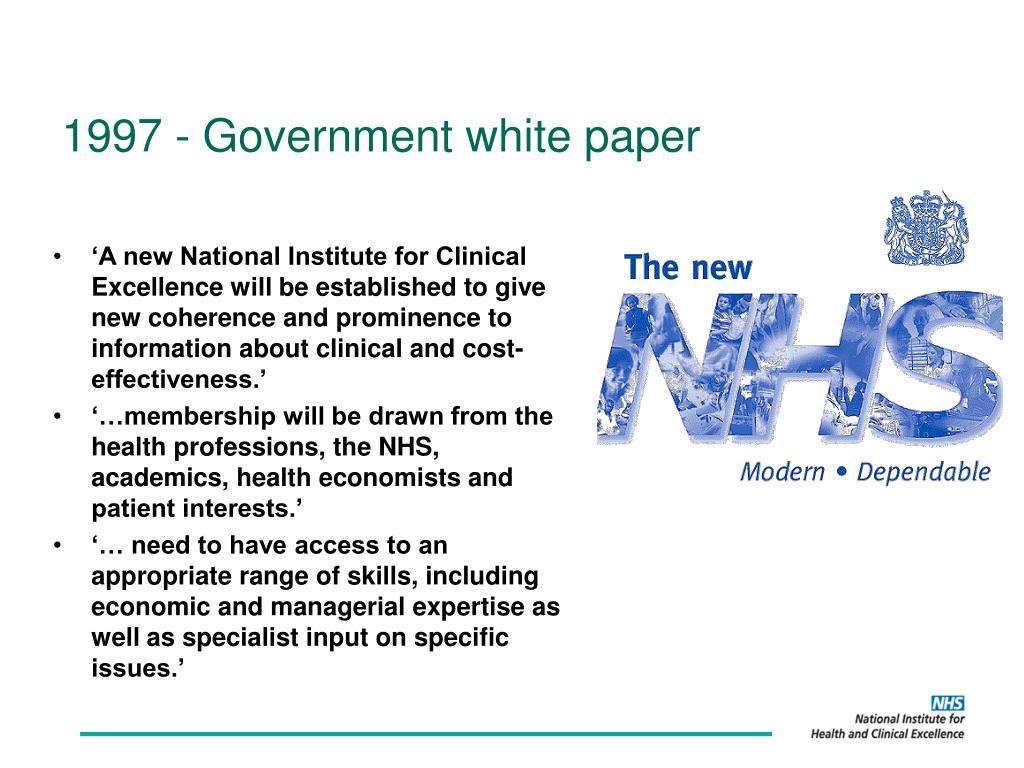 1997 - Government white paper