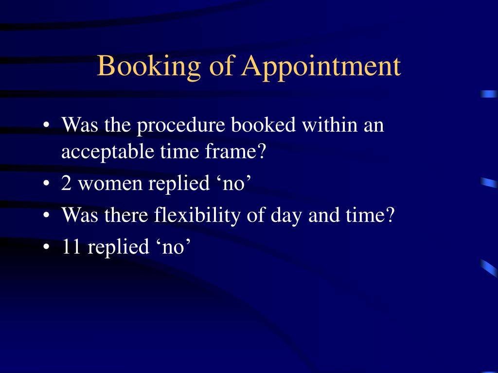 Booking of Appointment