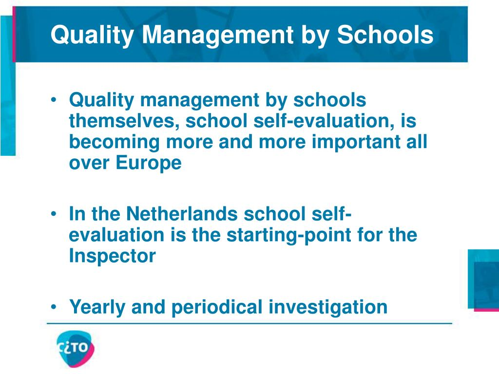 Quality Management by Schools
